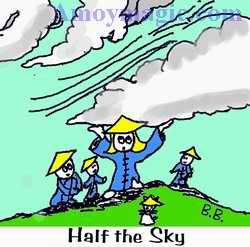 "Cartoon of Sue holding up the sky, from Chairman Mao's saying ""Women hold up half the sky"""