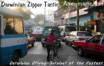 Darwinian Driving Zipper Tactic--foolproof method for cars five-abreast to merge into one lane--though sometimes the zipper gets stuck.  Amoy Magic--Guide to Xiamen and Fujian.  Http://www.amoymagic.com