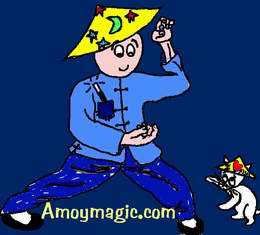 Cartoon of me and my cat in a kung fu match