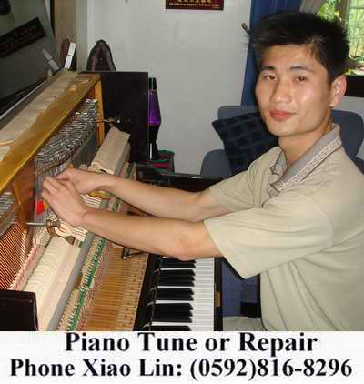 For Piano tuning or repair, phone Mr. Lin (Xiao Lin) at 816 8296