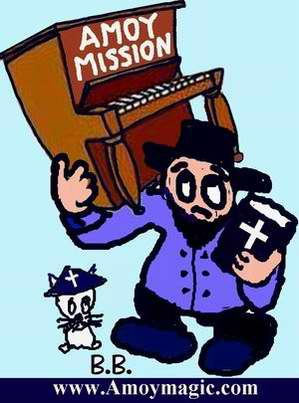 Cartoon of Amoy Missionary with Bible in one hand and piano in the other