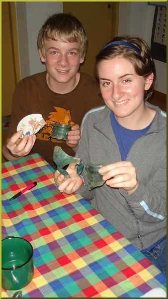Sammy and Sarah show some of their archeological finds from Putian