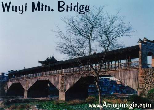 Grand old Chinese covered wooden bridge in Wuyi Mountain
