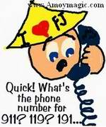 cartoon of me dialing 911 or 119 or ...