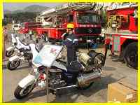 Xiamen firetrucks and nifty firefighter motorcycles