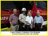 Xiamen donated two fire trucks to its sister city of Cebu in the Philippines