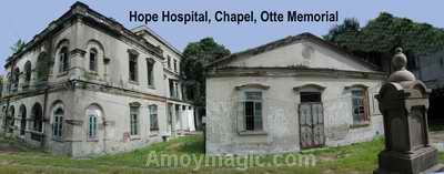 Hope Hospital Today; the hospital is in back, the chapel to the right, and the Otte Memorial is in front of the chapel