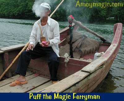 this ferryman had an amazing pipe and tobacco kit