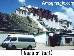 Lhasa at Last!  Our van in front of Potala Palace