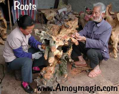 elderly couple carving roots