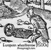 Ancient European wheelbarrow woodcut